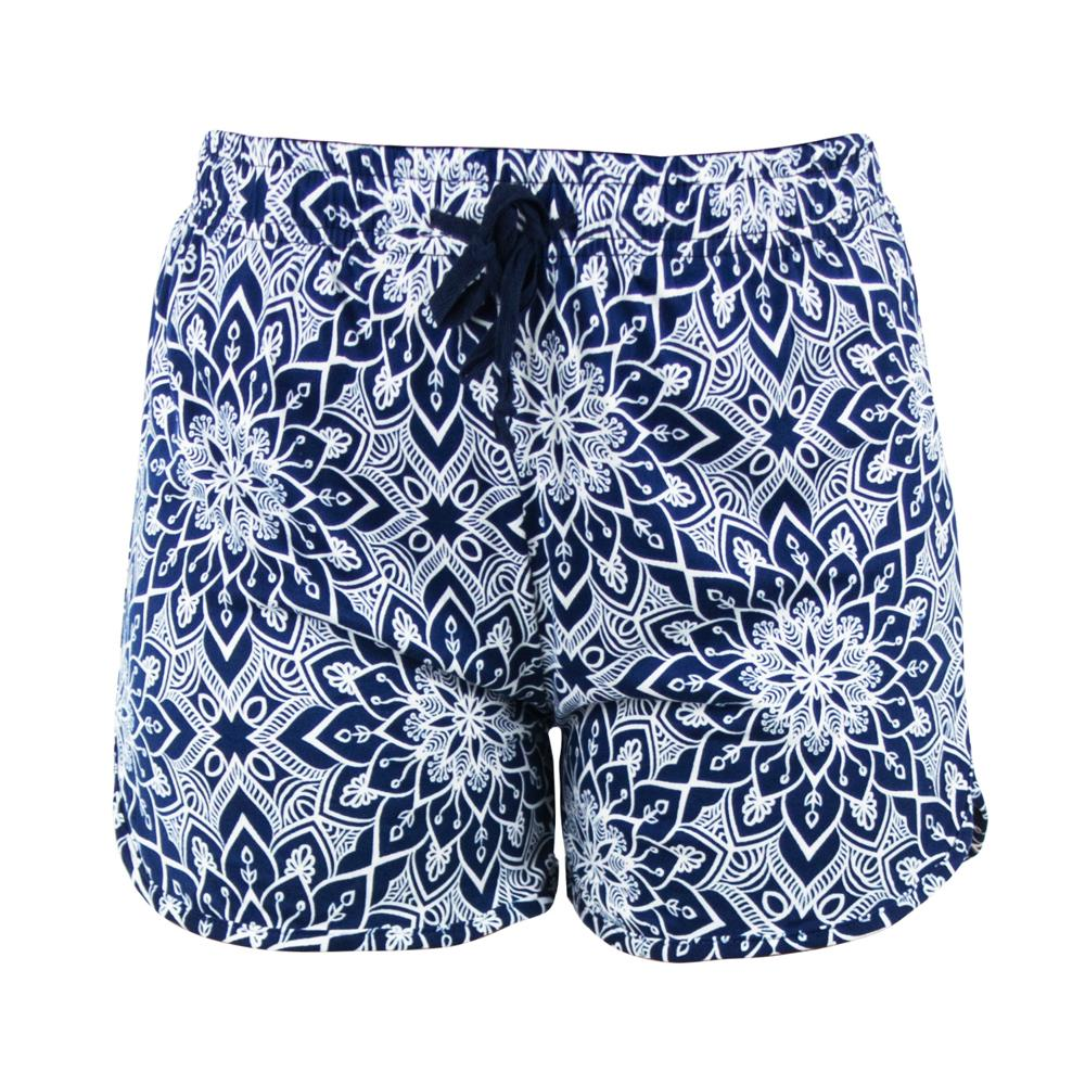 shorts from hello mello total bliss, rising lotus mandala, blue white graphic design