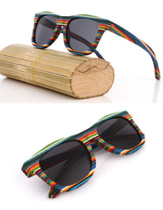 Rainbow Pride Polarized Wooden Sunglasses