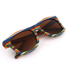 Load image into Gallery viewer, Rainbow Pride Polarized Wooden Sunglasses
