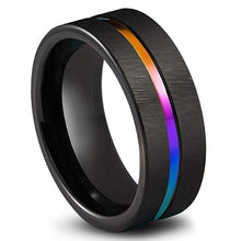 Load image into Gallery viewer, Black Titanium Rainbow Ring