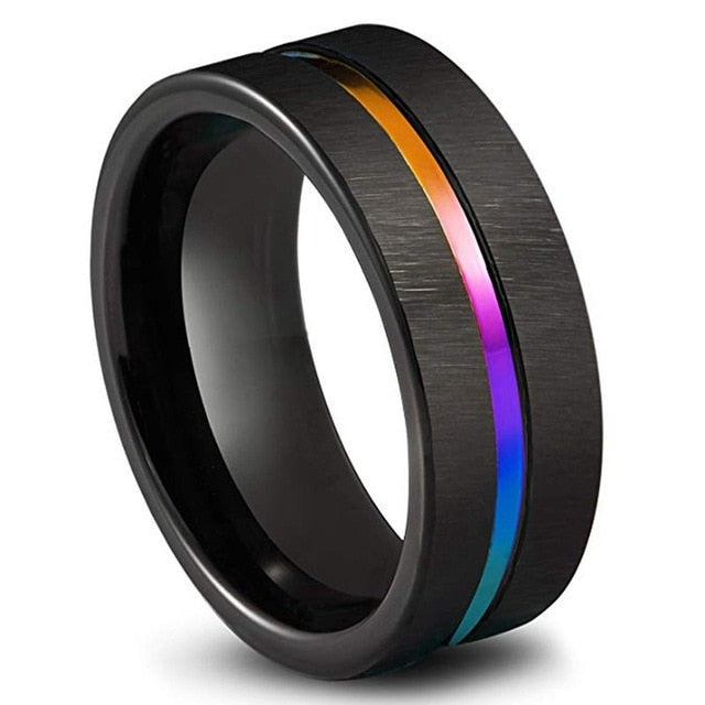 Black Titanium Rainbow Ring