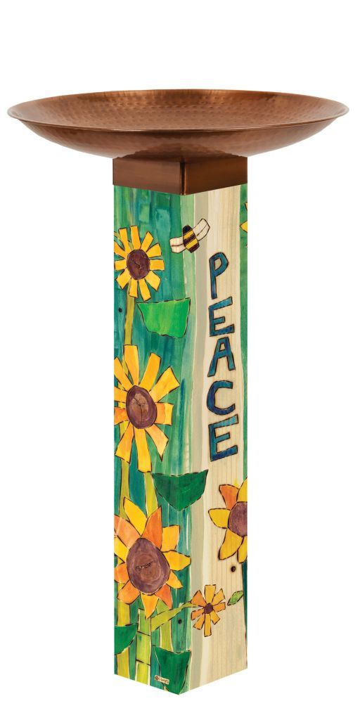 Peaceful Day Bird Bath Art Pole
