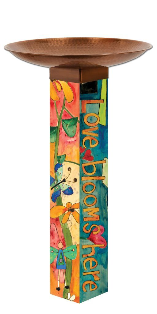 Love Garden Bird Bath Art Pole