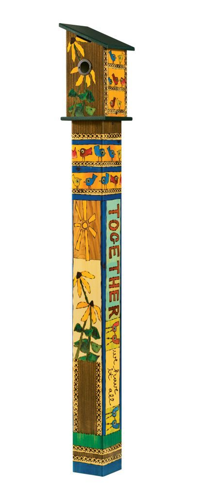 Friends Forever Birdhouse Art Pole