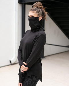 Cover Up Cowl Neck Top Black