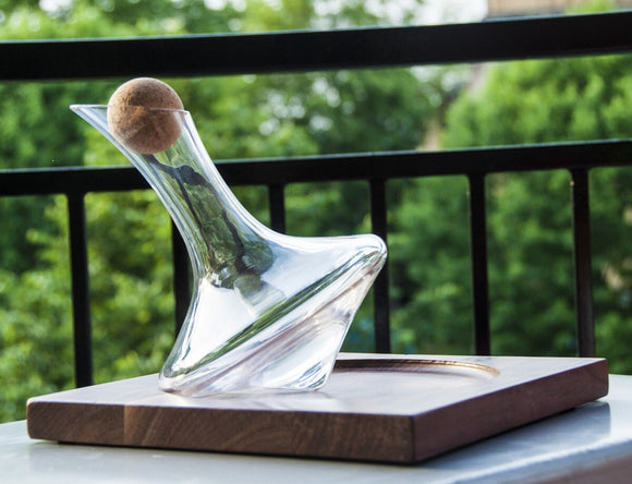 (J.R.) Revolving Wine Decanter with Walnut Stand