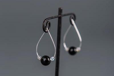 Obsidian Hoop Earrings