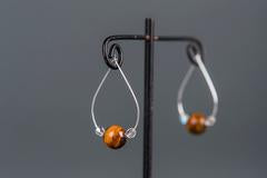 Tigers Eye Hoop Earrings