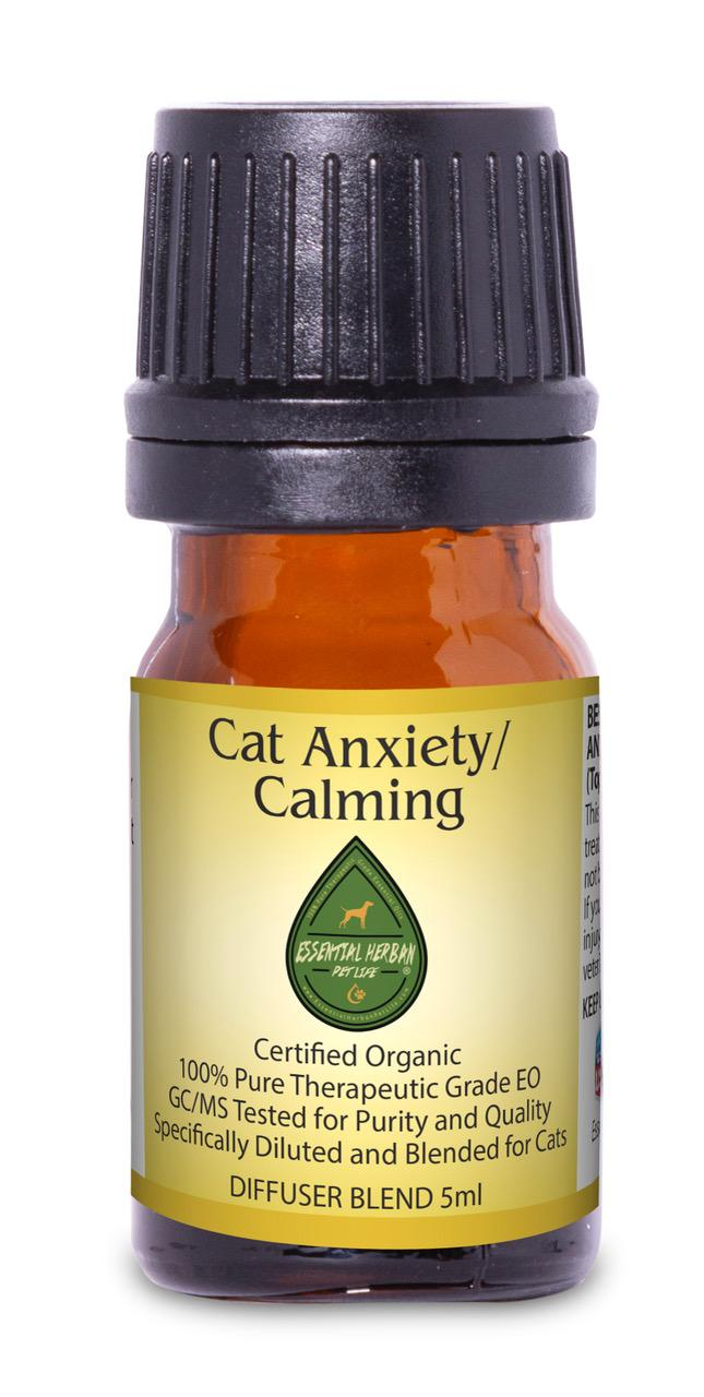 cat anxiety/calming diffuser blend helps with separation anxiety, stress, fear, loud situations, obsessive behavior and creates a calming effect
