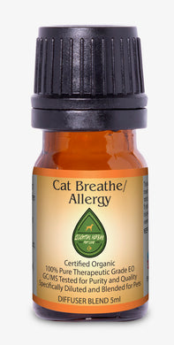 cat breathe/allergy diffuser blend helps with seasonal allergies, breathing problems, snoring, and skin allergies.