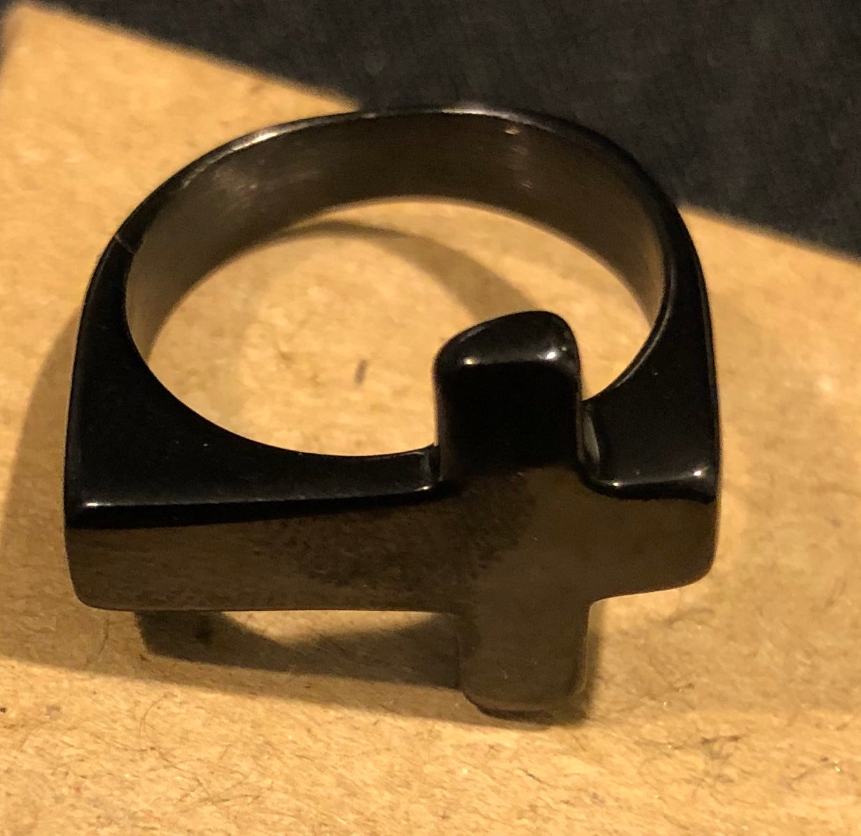 Black Stainless Steel Cross Ring