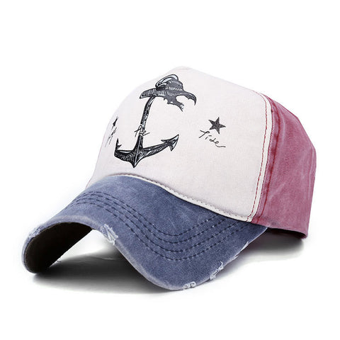 Cotton Blend Washed Anchors Baseball Cap