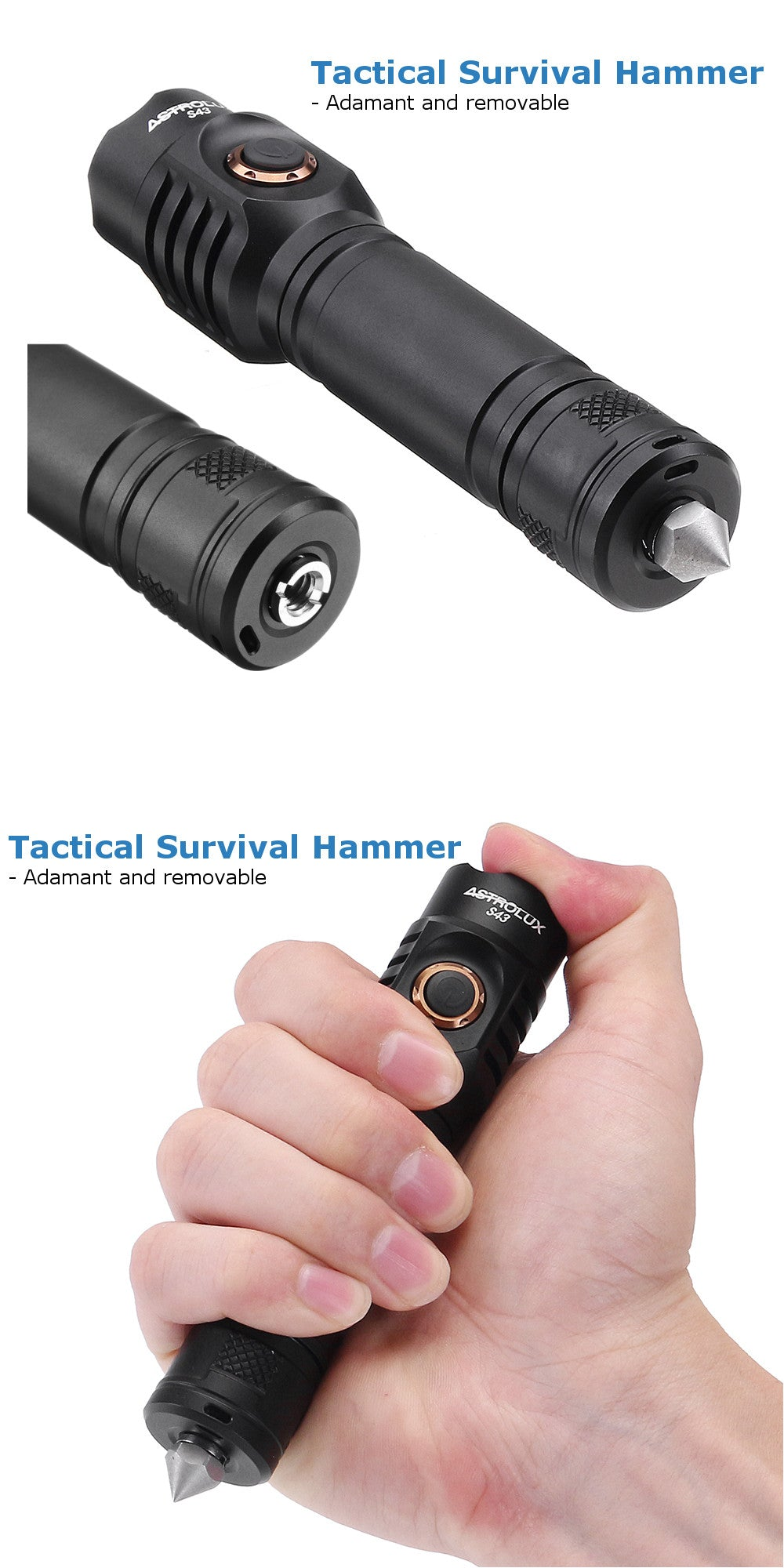 Military Grade EDC Flashlight With Safety Hammer-Shopplicity