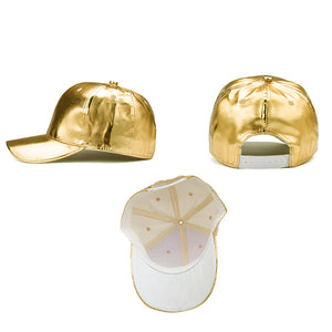 Gold/Silver PU Leather Baseball Cap-Shopplicity