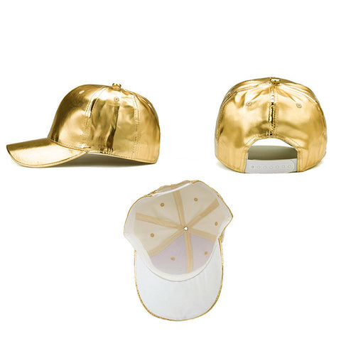 Gold/Silver PU Leather Baseball Cap