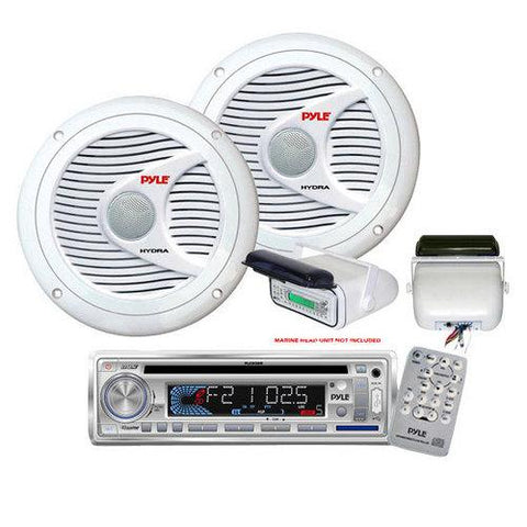 Universal Marine Stereo Housing w/Full Chassis Wired Casing (White) Dual 6.5'' Waterproof Marine Speakers, Full Range Stereo Sound, 150 Watt, White Marine Wire AntennaWhite Water Resistant Radio ShieldElite Series Waterproof Amplifier, 400 Watt 4-Channe