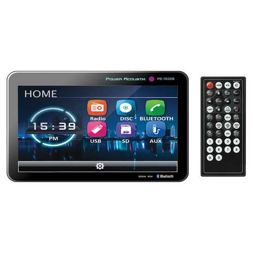"Power Acoustik 10.3"" DVD/CD/MP3 Double Din Receiver with Bluetooth & Detachable Faceplate"