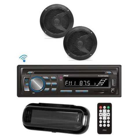Bluetooth Marine Stereo Radio Receiver & Waterproof Speaker Kit, Hands-Free Talking, CD Player, MP3/USB/SD Readers, AM/FM Radio, (2) 6.5'' Speakers