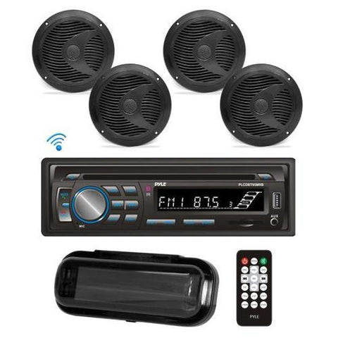 Bluetooth Marine Stereo Radio Receiver & Waterproof Speaker Kit, Hands-Free Talking, CD Player, MP3/USB/SD Readers, AM/FM Radio, (4) 6.5'' Speakers