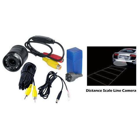 Flush Mount Rear View Backup Parking / Reverse Camera, Night Vision LEDs, Distance Scale Line Display, Waterproof, Universal Mount (Front/Rear Vehicle Mounting)
