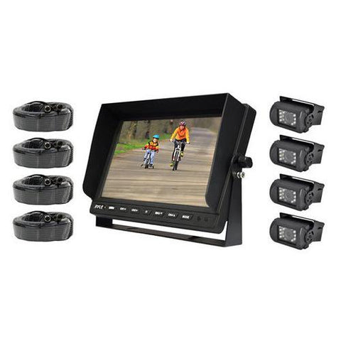 Weatherproof Rearview Backup Camera & Monitor Safety Driving Video System, 10'' Monitor, (4) Night Vision Cameras, Commercial Grade, Dual DC Voltage 12-24 for Bus, Truck, Trailer, Van