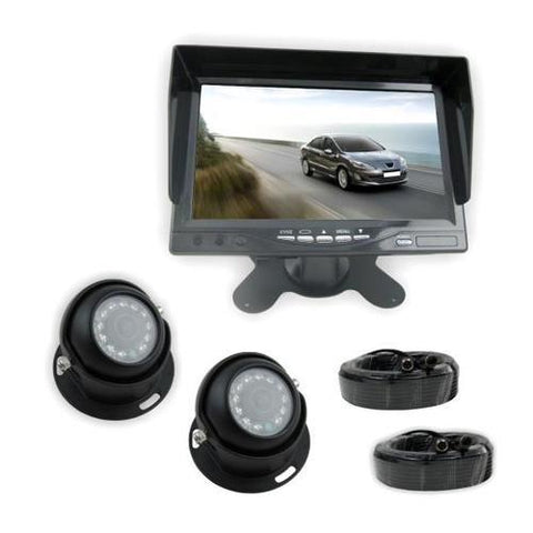 Rear View Backup Camera & Monitor System Kit, 7'' Display, (2) Waterproof Angle Adjustable Night Vision Cams, Front/Rear Vehicle Mount
