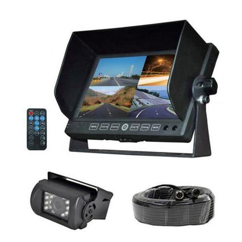 DVR Video Camera HD Recording Driving System, 7'' Display Monitor, Waterproof Night Vision Cam, Backup/Reverse Visual Assistance Kit (12/24V for Bus, Truck, Trailer, Van, RV, Camper)