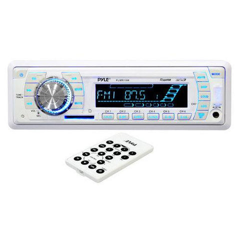 Stereo Radio Headunit Receiver, Aux (3.5mm) MP3 Input, USB Flash & SD Card Readers, Remote Control, Weatherband, Single DIN (White)
