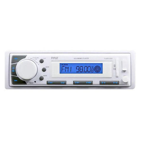 Marine Stereo Radio Headunit Receiver, Aux (3.5mm) MP3 Input, USB/SD Memory Card Readers, AM/FM Radio, Single DIN