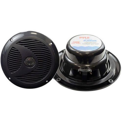 Dual 6.5'' Waterproof Marine Speakers, Full Range Stereo Sound, 150 Watt, Black