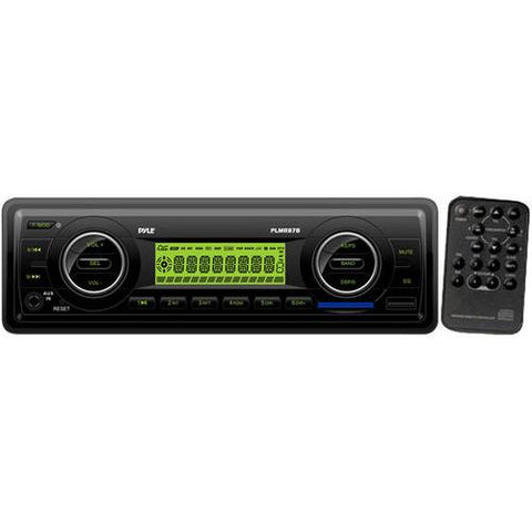 Marine Stereo Radio Headunit Receiver, Aux (3.5mm) MP3 Input, USB Flash & SD Card Readers, Remote Control, Single DIN (Black)
