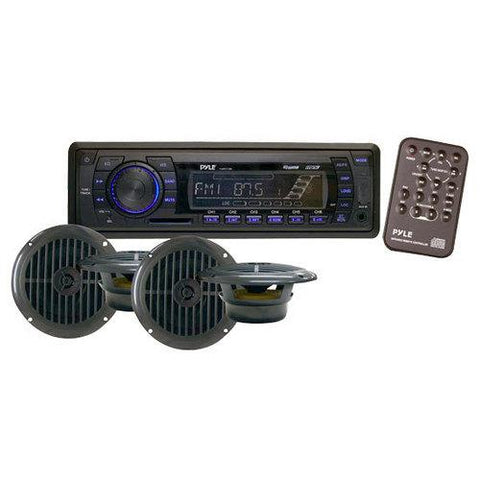 Stereo Radio Headunit Receiver & Speaker Kit, Aux (3.5mm) MP3 Input, USB Flash & SD Card Readers, Remote Control, Includes (4) Waterproof 6.5'' Speakers, Single DIN (Black)