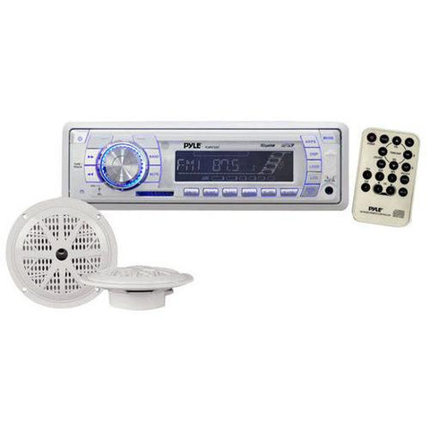 Stereo Radio Headunit Receiver & Waterproof Speaker Kit, Aux (3.5mm) MP3 Input, USB Flash & SD Card Readers, Remote Control, Includes (2) 5.25'' Speakers, Single DIN (White)