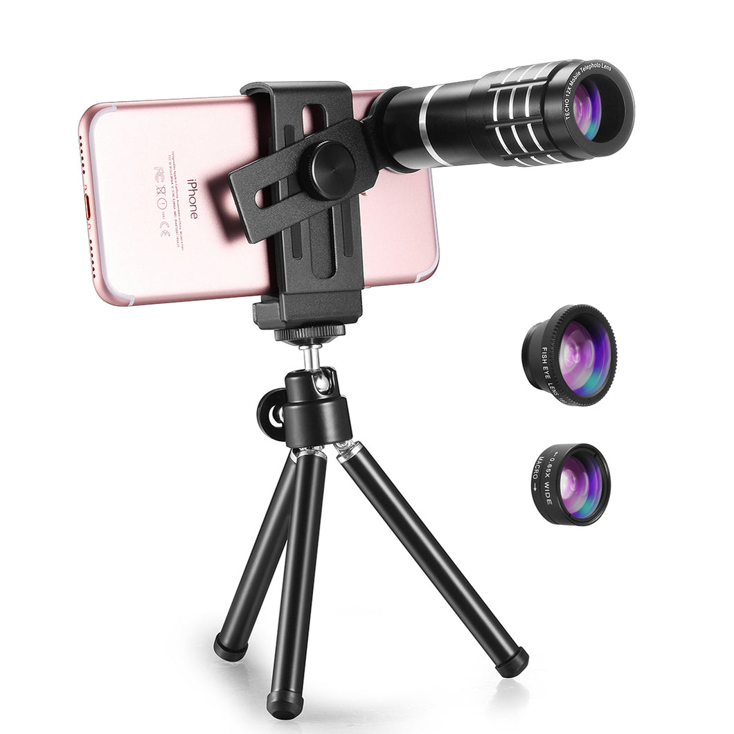 TECHO Professional 12X Zoom Telephoto Lens, Fisheye Lens, Wide Angle Lens, Macro Lens for Mobile Phone