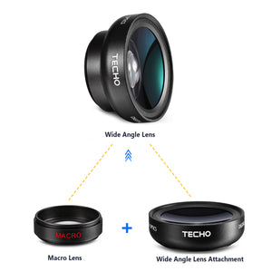 TECHO Universal Professional HD Camera Lens Kit for iPhone XS MAX / XS / X / XR / 8 / 7 / 6s Plus / 6s / 5s, Samsung Cellphone (0.45x Super Wide Angle Lens, 12.5x Super Macro Lens)