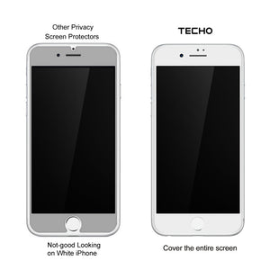 TECHO Privacy Screen Protector for iPhone 8 7 6S 6, [Full Coverage] [Case Friendly] [Super Clear] Anti-Spy 9H Hardness Tempered Glass Screen Protectors (White)