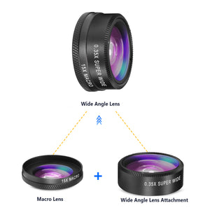 TECHO 5 in 1 HD Camera Lens Kit [Fisheye Lens, Macro Lens, 0.35X Wide Angle Lens, 2X Zoom Telephoto Lens, CPL] Cell Phone Lens for Most Smartphones