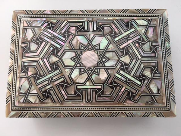 Egyptian Mother of Pearl Handmade Wooden Inlaid Jewelry Box