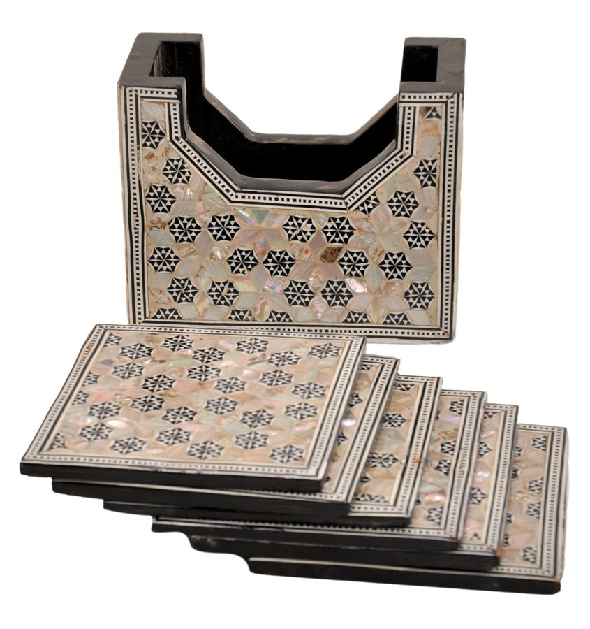 Set of 6 coasters HANDMADE Egyptian mother of Pearl & Paua shell inlaid and a holder