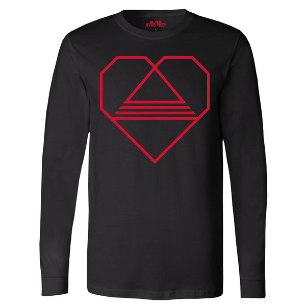 Tri-Angle Heart Black Long Sleeve Tee