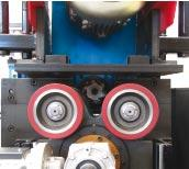The four wheel feeding system insures precise bottom face J chamfer and V beveling