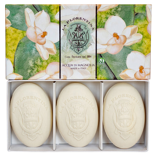 La Florentina Magnolia Natural Tuscan Soap 3 Bars 150g Gift Boxed