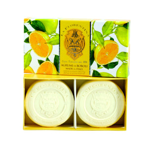 La Florentina Boboli Citrus Italian Soaps Natural Tuscan ingredients2 Bars soap 115g Gift Box