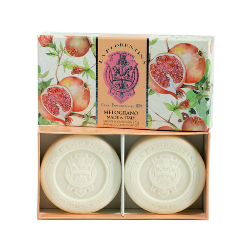 La Florentina Soap Pomegranate Natural Tuscan 2 Bars soap 115g Gift Boxed