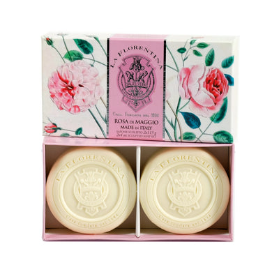 La Florentina Rose of May Italian Soaps Natural Tuscan115g 2 Bars