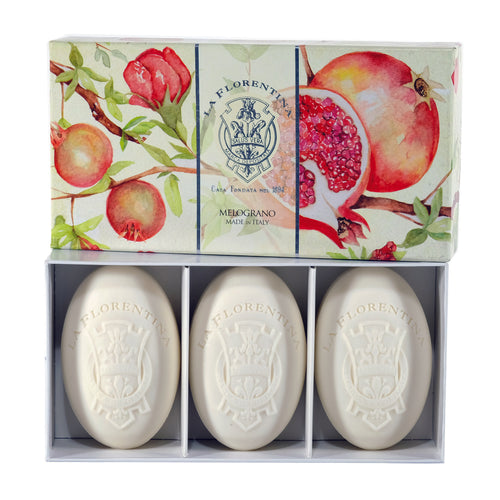 La Florentina Soap pomegranate Natural Tuscan soap 3 Bars Soap 150g Gift Boxed