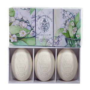 La Florentina Soap Lily of the Valley Natural Tuscan soap 3 Bars Soap 150g Gift Boxed