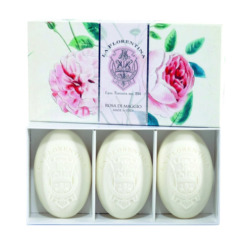 La Florentina Soap Rose of May Natural Tuscan soap 150g 3 Bars
