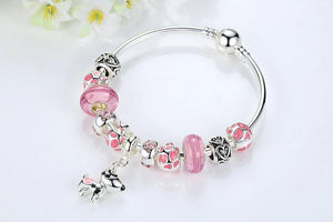 | Lovely Dog & Pink Glass Beads Charm Bracelet |