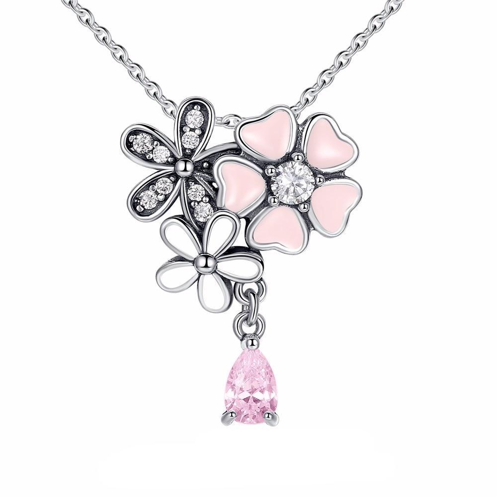 | Pink Cherry Blossom & Daisy Flower Necklace |
